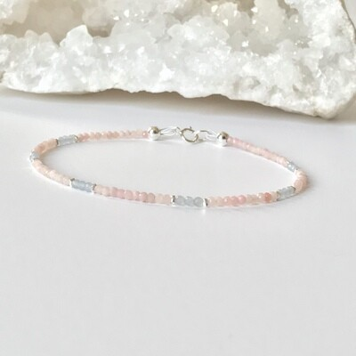 Totally Stackable Pink Opal & Angelite Bracelet