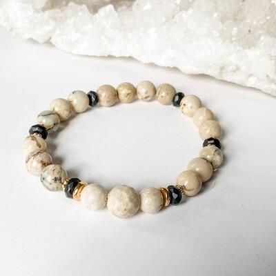 White African Opal, Onyx & Riverstone Bracelet