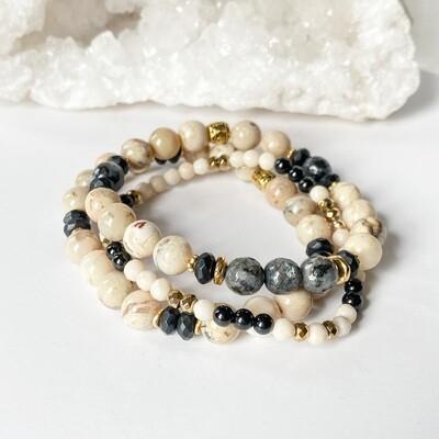 White African Opal Bracelet Stack