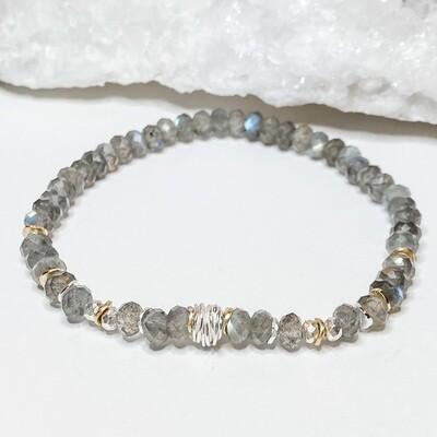 Labradorite & Sterling Stretch Bracelet