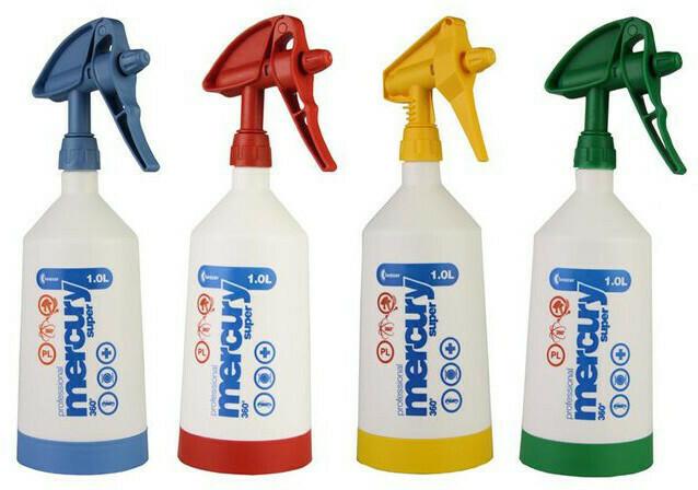 Set of 4 Mercury Super PRO+ 360° VITON spray bottles 1 liter & 4 microfiber