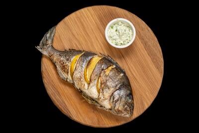 Золотистый спар со сливочным соусом и зеленью (Дорадо), 310 гр