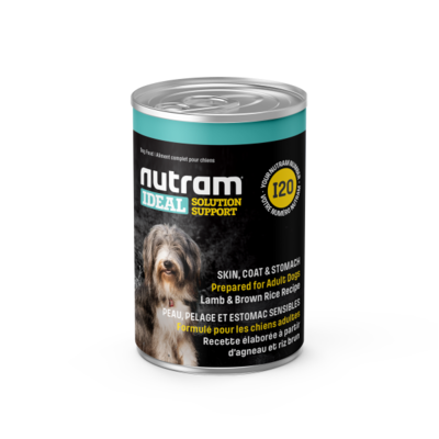 Nutram I20 can Lamb Meal & Brown Rice Recipe for Skin, Coat & Stomach