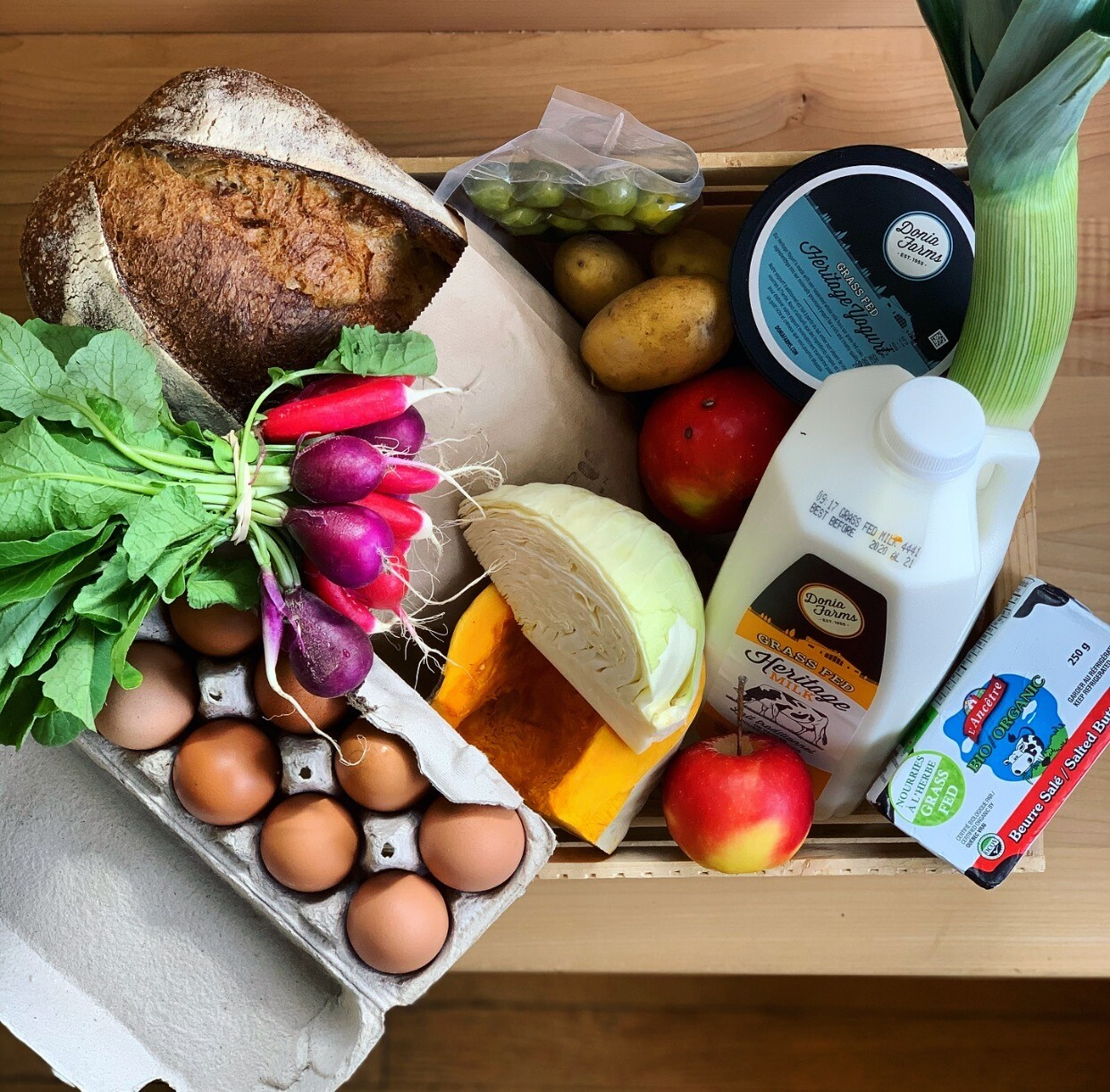 One Month Seasonal Care Package (let us know if you are vegan! we can double up on produce!)  - PICK UP ON WEDNESDAY