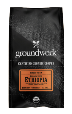 GroundWork Coffee Ethiopia Single Origin Heirloom Blend Organic (12oz)
