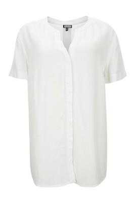 Halbarm Bluse mit Stehkragen weiss