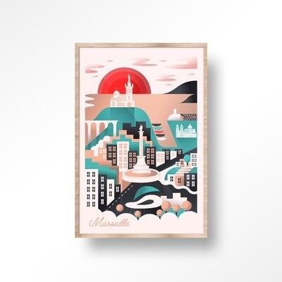 Illustration encadrée MARSEILLE [40x60cm]