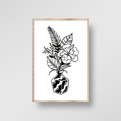 Illustration encadrée PLANTE NOIRE [40x60cm]