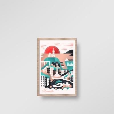 ILLUSTRATION ENCADRÉE MARSEILLE [20x30cm]