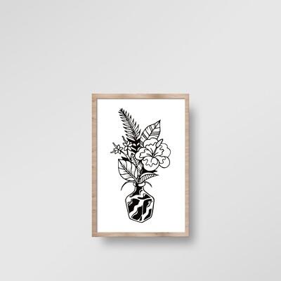 ILLUSTRATION ENCADRÉE PLANTE NOIRE [20x30cm]