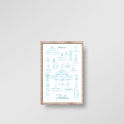 Illustration encadrée FONTAINES DE TOULON [20x30cm]