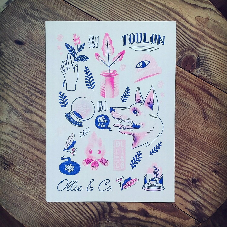 """Print Riso A4 """"Ollie & Co"""" série limitée"""