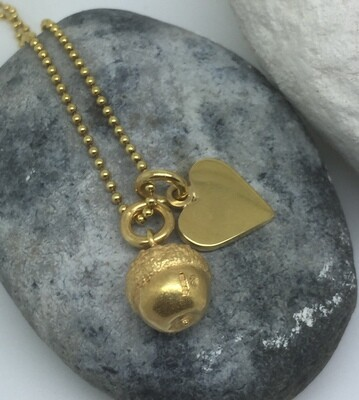 Acorn and heart pendants - yellow gold vermeil