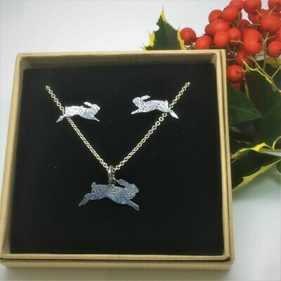 Leaping Hare pendant and earrings