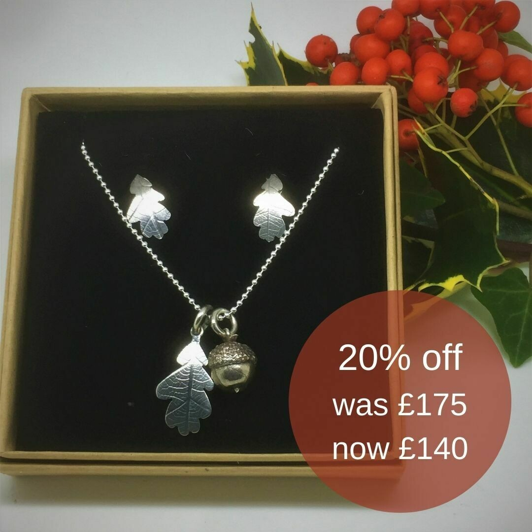 Acorn, oak leaf pendants and earrings gift set