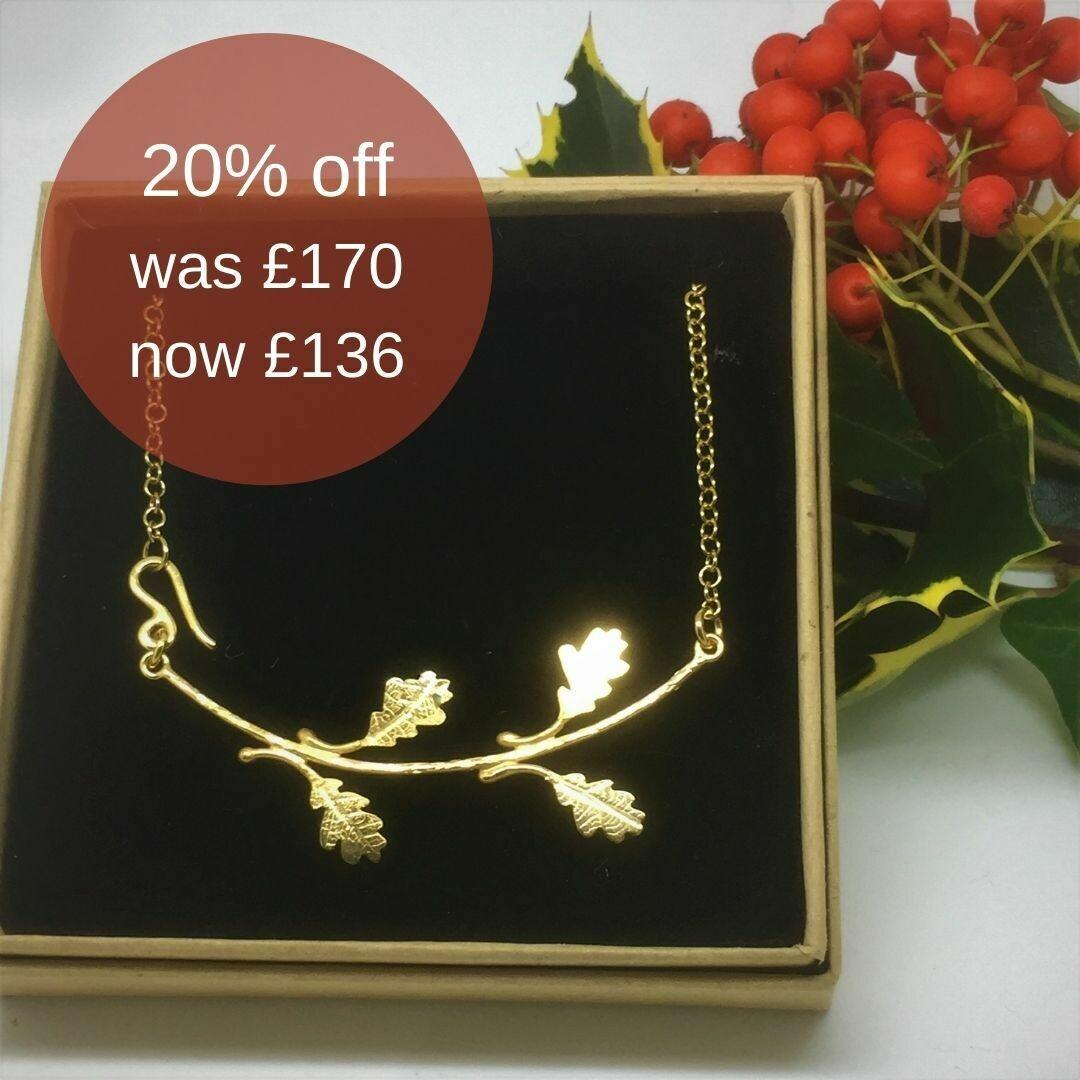 Mini oak leaf branch necklace - gold vermeil