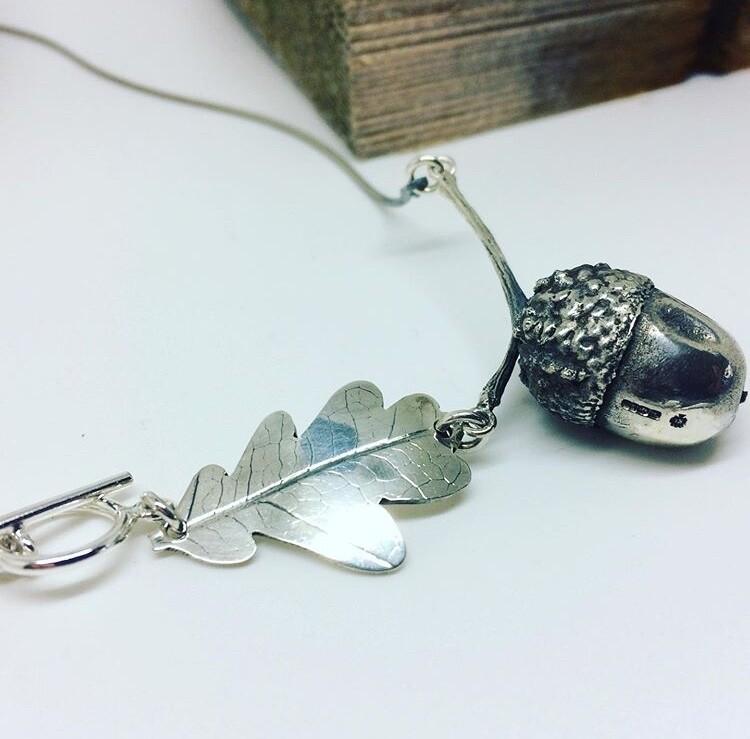 Large acorn with oak leaf necklace