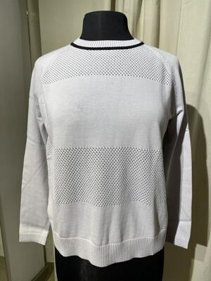 Kokun - Raglan Sleeves Mesh Sweater