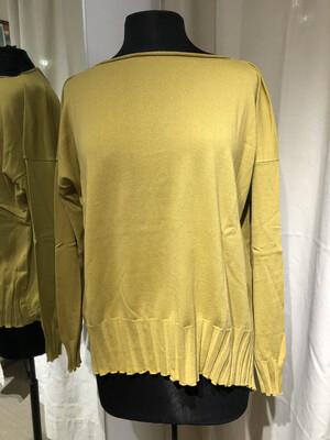 Planet Yellow Boatneck Rib Sweater