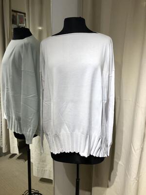 Planet White Boatneck Rib Sweater