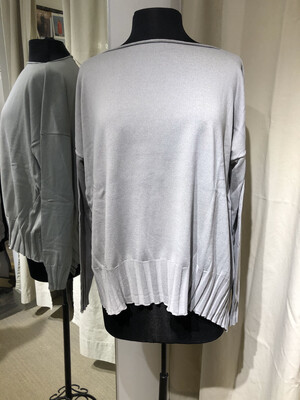 Planet Light Gray Boatneck Rib Sweater