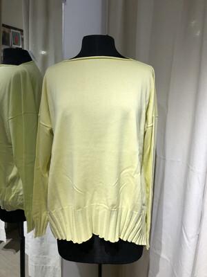 Planet Light Yellow Boatneck Rib Sweater