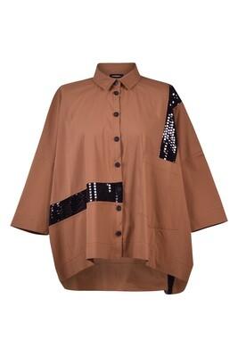 Alembika Button Caramel Sequined Shirt