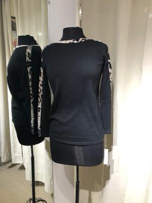 Belford Snake Trim Black Sweater