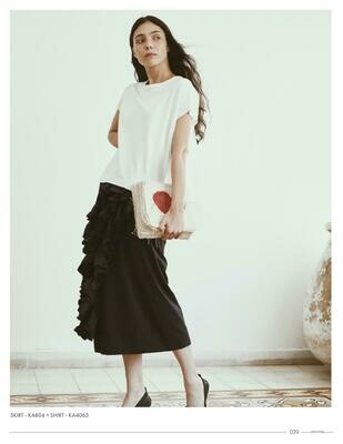 Amma Black Ruffle Pencil Skirt