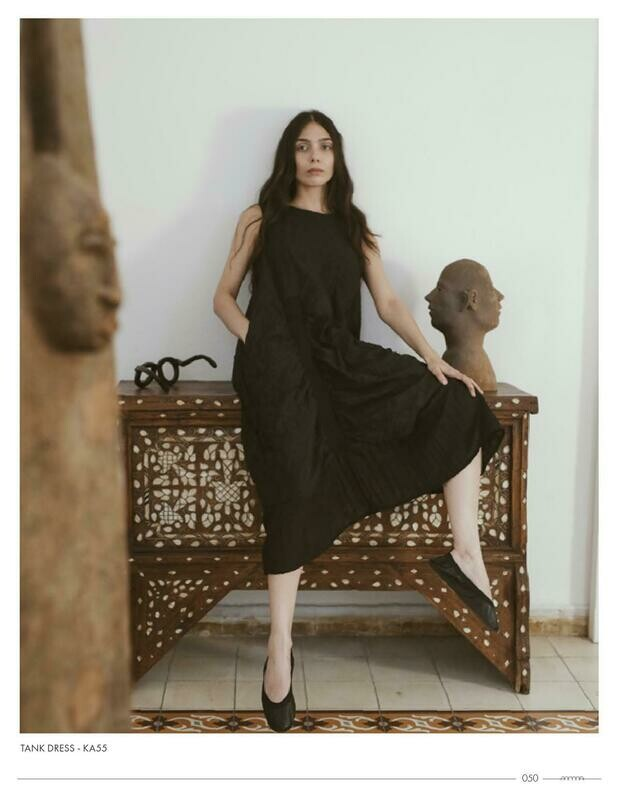 Amma Black Crinkle Long Dress