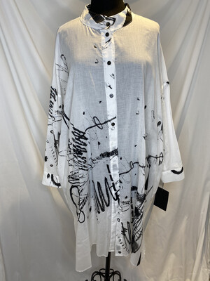 Moyuro White Scribble Shirt Dress