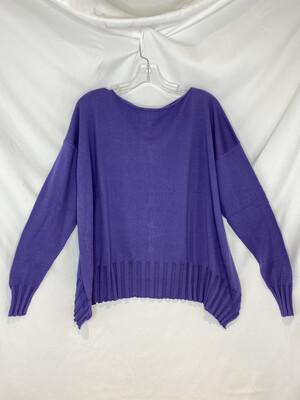 Planet Purple Boatneck Rib Sweater
