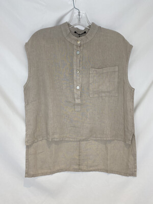 Baci Beige Hi-lo Sleeveless Linen Shirt