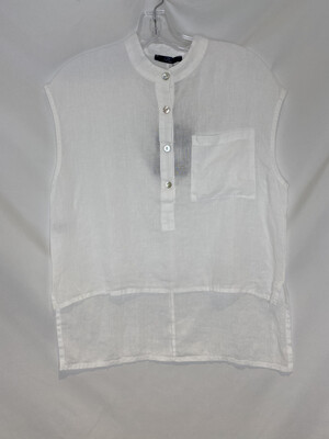 Baci White Hi-lo Sleeveless Linen Shirt