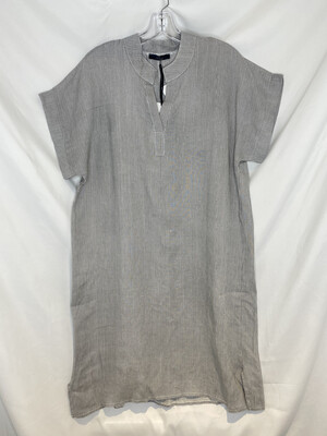 Baci Gray Pinstripe Linen Dress