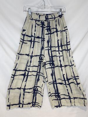 Baci Beige Mondrian Print Linen Culottes