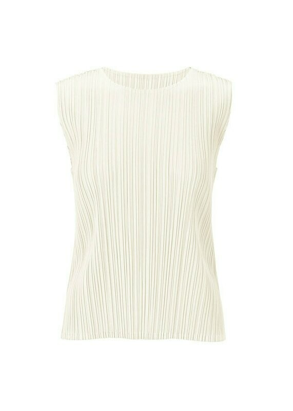 Pleats Please by Issey Miyake White Sleeveless Top