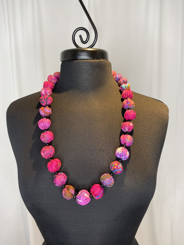 Mieko Mintz Fuschia Small Nuts Medium Necklace