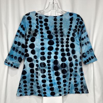 Annie Turbin Turquoise Dots 3/4 Sleeve Tshirt