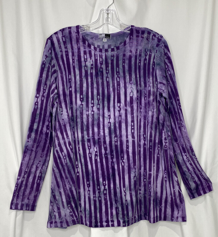 Annie Turbin Purple Vertical Stripe Tunic
