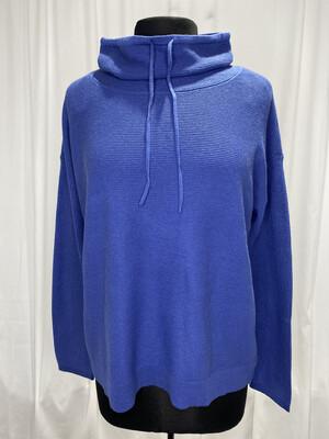 Elliot Lauren Blue Mock Neck Tie Cotton Sweater