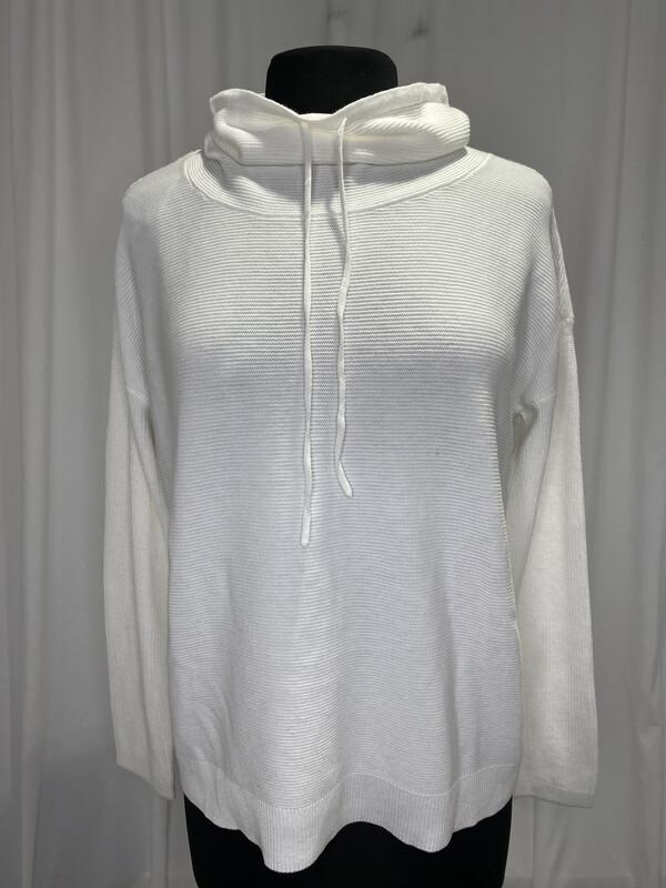 Elliot Lauren White Mock Neck Tie Cotton Sweater