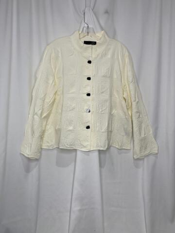 Liv White Crop Textured Shirt Jacket