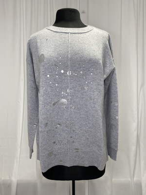 Pure Amici Gray Cashmere Sweater With Silver Splatter