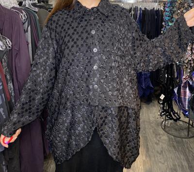 Dress To kill Black Fuzz Banded Cappy Top