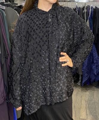 Dress To kill Black Fuzz Scallop Shirt