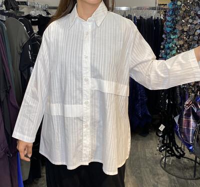 Dress To Kill White Stripe Hi Lo Band Shirt