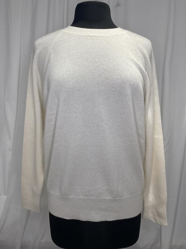 Cashmere Clouds Donation Soft White Crewneck Sweater