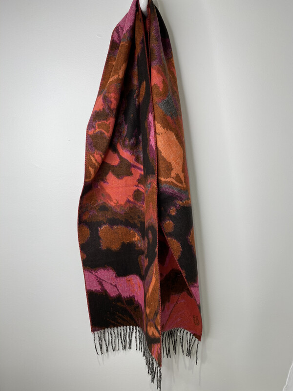 Cashmink Black Multi Abstract Scarf