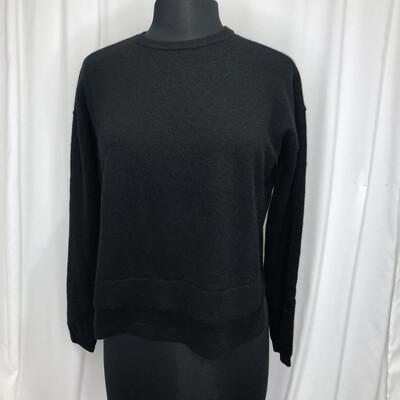 Elliot Lauren Black Tiered Cropped Cashmere Sweater